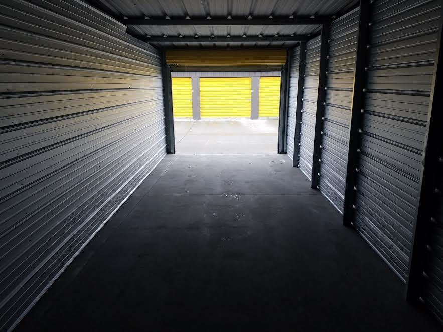 Inside a 10' x 30' self-storage unit looking out